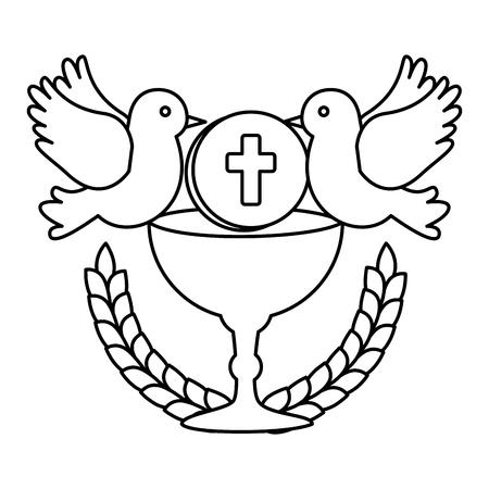 Erstkommunion im Kelch mit Taubenvektorillustrationsdesign