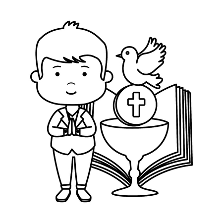 little boy with bible and chalice first communion vector illustration design Vectores