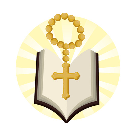 holy bible with rosary vector illustration design Stock Illustratie