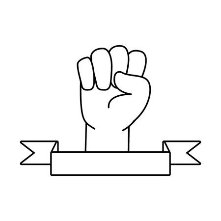 happy labour day hand raised fist vector illustration Vettoriali