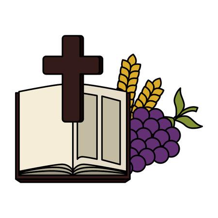 Sainte bible avec croix et raisins vector illustration design