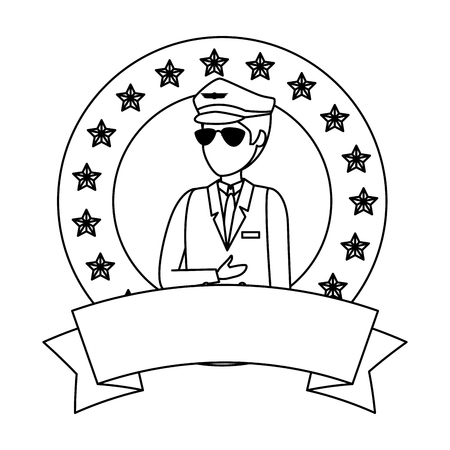 aviation pilot avatar character vector illustration design