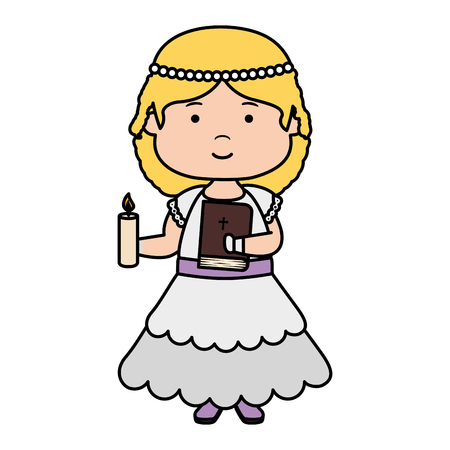 little girl with holy bible first communion character vector illustration design