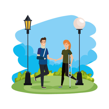 man with orthopedic collar and woman in crutcher arm vector illustration design