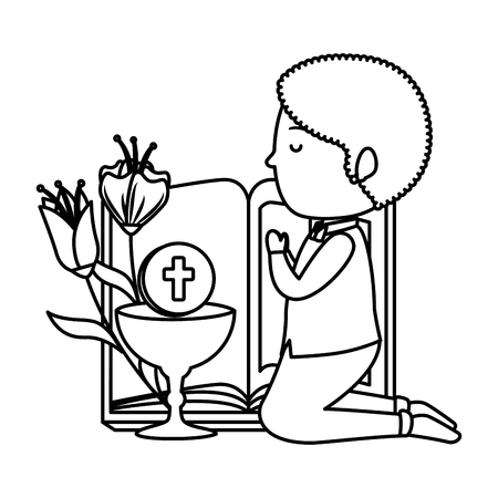 little boy kneeling with book and chalice first communion vector illustration design Stock Illustratie