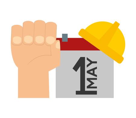 happy labour day hand raised calendar hardhat vector illustration Çizim