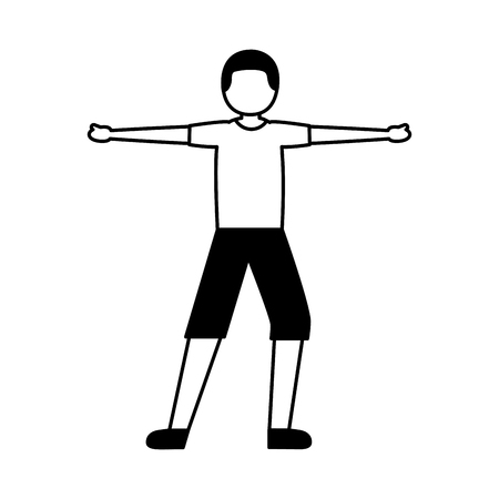 young man training sport activity vector illustration Illusztráció