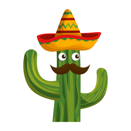 cactus with mexican hat and mustache character vector illustration design Stock Vector - 123607007