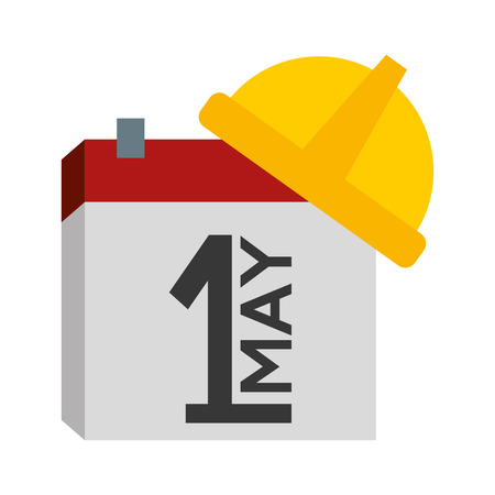 happy labour day calendar helmet vector illustration Illustration