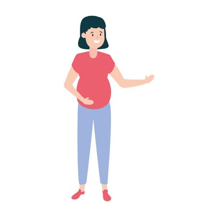 happy pregnant woman character vector illustration design