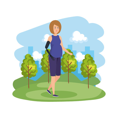 woman with arm prosthesis character vector illustration design Illustration