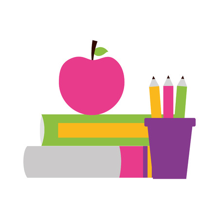 books apple pencils school supplies vector illustration design