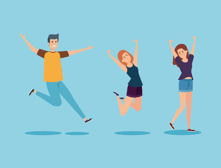 set happy boy and girls jumping with casual clothes vector illustration Vettoriali
