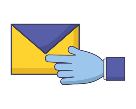 hand with mail envelope tax payment vector illustration