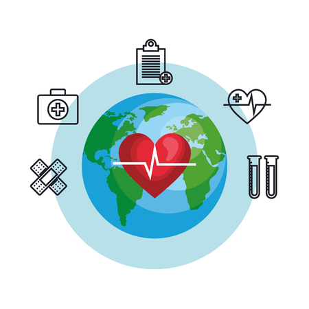heart cardio with planet and icons vector illustration design Иллюстрация