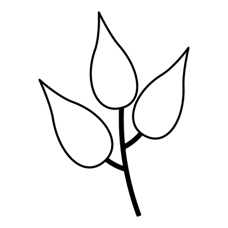 branch leaves nature icon white background vector illustration  イラスト・ベクター素材