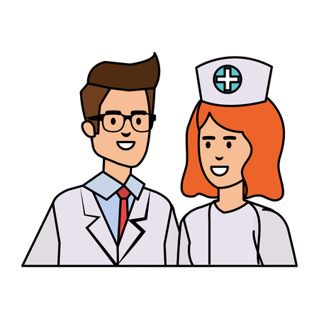 couple of professionals doctor and nurse characters vector illustration design Stock Vector - 120811795