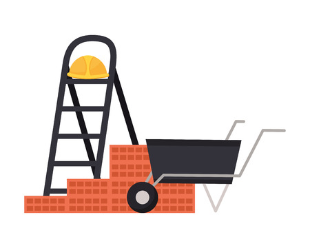 stairs helmet wheelbarrow wall tool construction vector illustration
