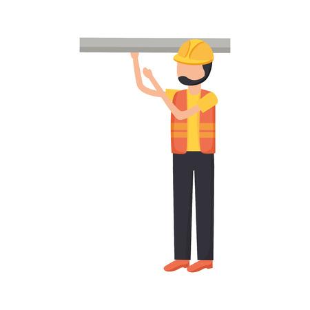 worker construction tool blueprint vector illustration design