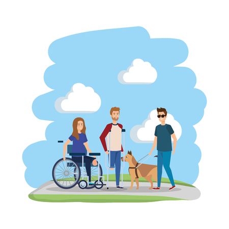 young woman in wheelchair with friends vector illustration design