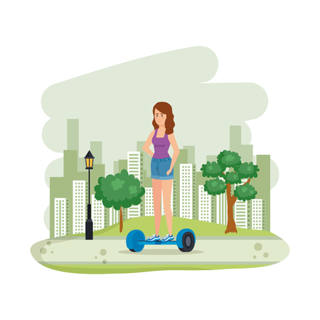 young woman in hoverboard electric in the field vector illustration design 免版税图像 - 123607204