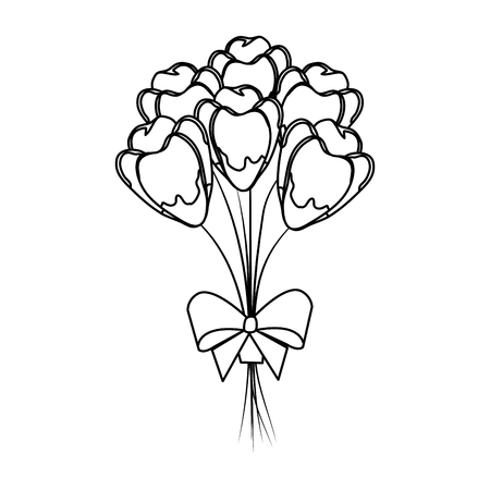 beutiful roses bouquet with bowtie vector illustartion design