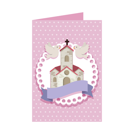 postcard with church facade building vector illustration design  イラスト・ベクター素材