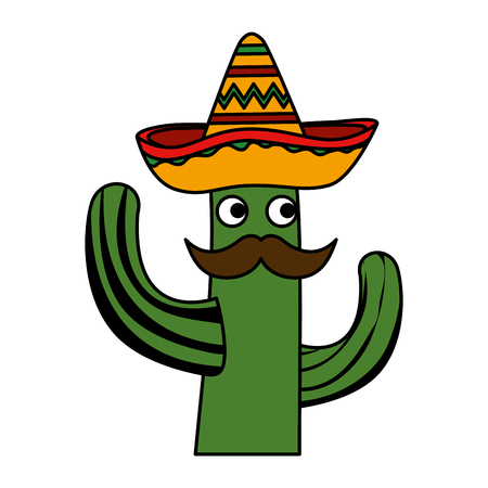 cactus with mexican hat and mustache character vector illustration design