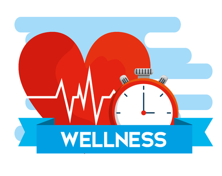 heartbeat with chronometer and ribbon to health lifestyle vector illustration