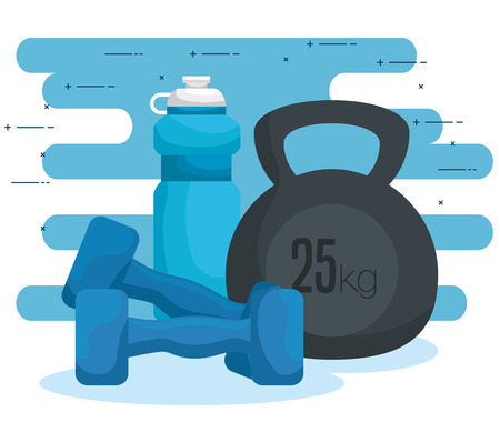 water bottle with dumbbells to exercise harmony vector illustration
