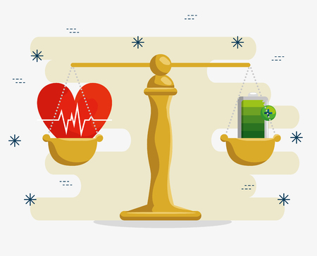 lifestyle balence with wellness heartbeat and battery vector illustration Banco de Imagens - 120812062
