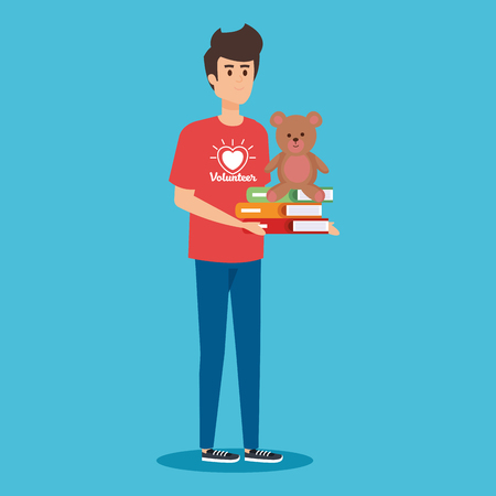 boy volunteer with books and teddy donation vector illustration Illustration