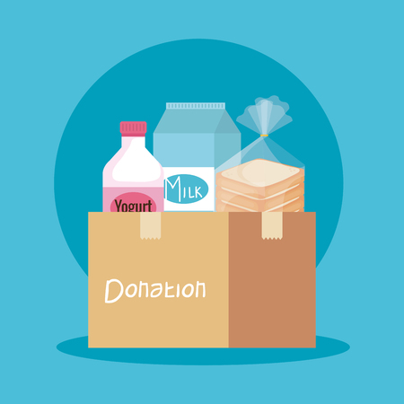 box donation with yogurt and milk with bread vector illustration