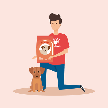boy volunteer with dog and food donation vector illustration