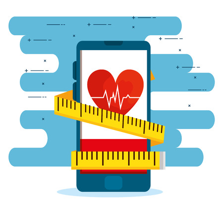 smartphone with heartbeat and measuring tape to balance vector illustration Stock Vector - 123607272