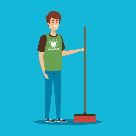 boy volunteer with broom to charity support vector illustration