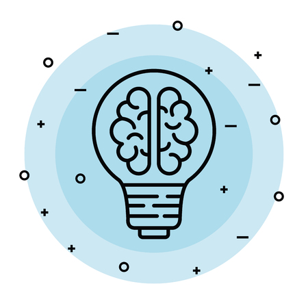 bulb idea with health brain and creative vector illustration