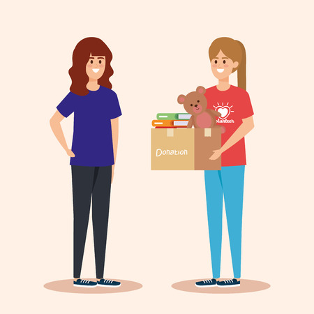 girls with box donation with books and teddy vector illustration Çizim