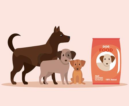 chiens avec don de nourriture au service de don illustration vectorielle Vecteurs