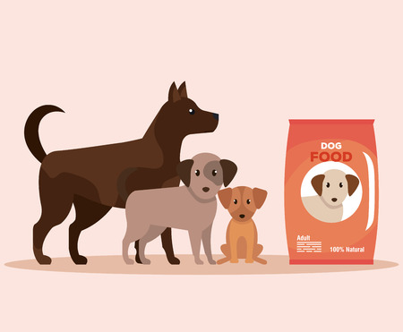 dogs with food donation to donation service vector illustration Illustration