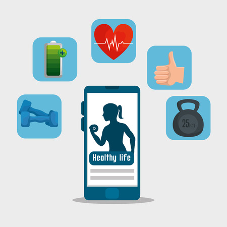 smartphone and labels with health lifestyle exercise vector illustration Stock Vector - 120759211