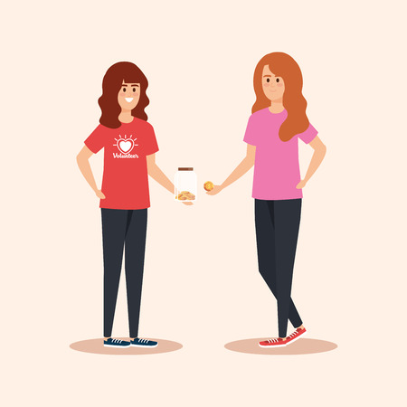 girls with moneybox and coins donation to help vector illustration Illustration