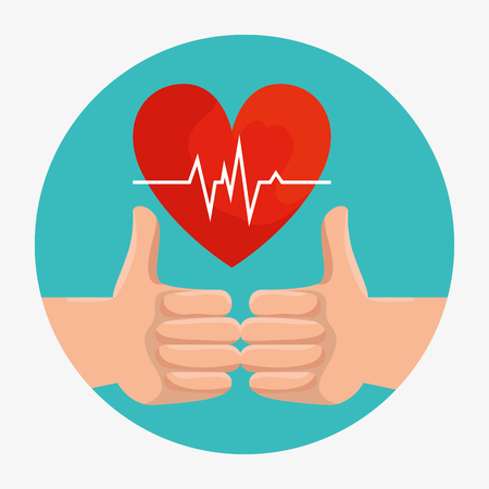 good sign hands with wellness heartbeat vector illustration Illustration
