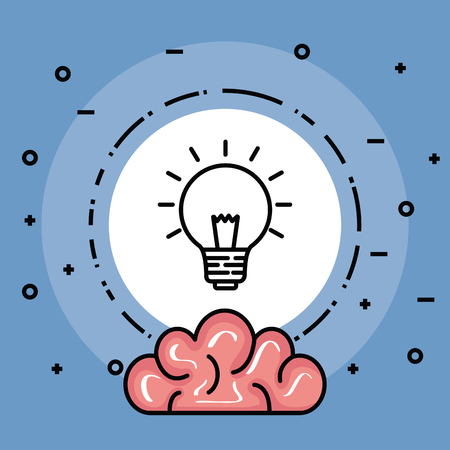 label with creative bulb idea and brain vector illustration Illustration
