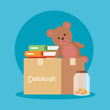teddy and books inside box donation and moneybox vector illustration