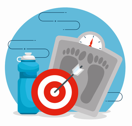 weighing machine with water bottle and target vector illustration Reklamní fotografie - 120759212