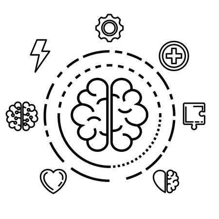 label with health brain to health mind vector illustration