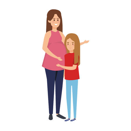 young pregnancy woman with daughter vector illustration design Иллюстрация