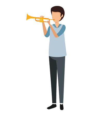 man playing trumpet character vector illustration design