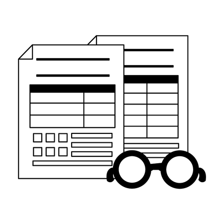 tax payment documents paper eyeglasses vector illustration Illustration